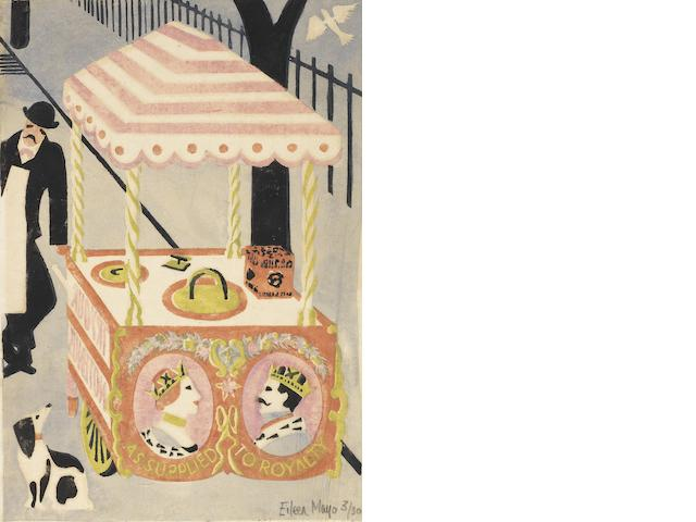Dame Eileen Mayo (British, 1906-1994) Ice Cream Cart Linocut printed in colours, c.1930, on oriental tissue, signed, titled and numbered 3/30 in pencil, with margins, 307 x 212mm (12 1/8 x 8 3/8in)(B) unframed