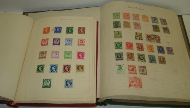 Stamps - a Simplex Junior red loose leaf album, with George VI - Elizabeth II pre-decimal Commonwealth collection, mounted mint and used, a green loose leaf album with Queen Victoria - Elizabeth II pre-decimal collection, mounted mint and used, 1st Day covers, loose stamps, some un-mounted mint and other items.