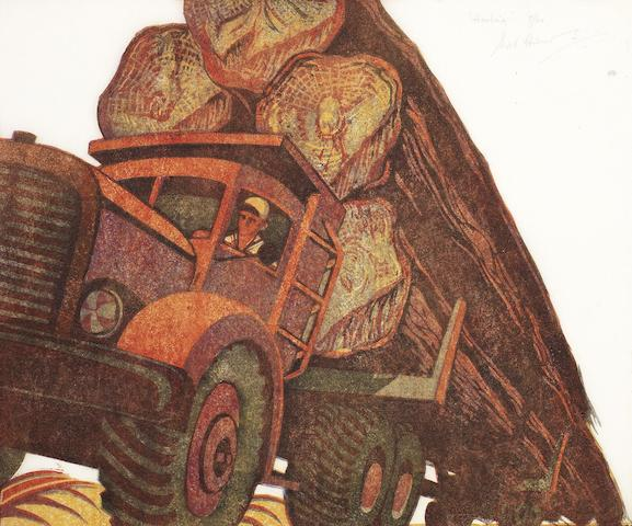 Sybil Andrews, CPE (British/Canadian, 1898-1993) Hauling (Coppel SA 50) Linocut printed in raw sienna, alizarin crimson, permanent blue and ivory black, 1952, on buff oriental laid tissue, signed, titled and numbered 7/60 in pencil, with margins, 265 x 316mm (10 1/2 x 12 1/2in)(B) unframed