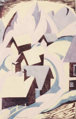 Ursula Fookes (British, 1906-1991) Alpine Village Linocut printed in dark purple, pink,  lilac and blue, c.1930, on japan, signed and numbered 3/25 in pencil, with margins, 277 x 178mm (10 7/8 x 7in)(B)