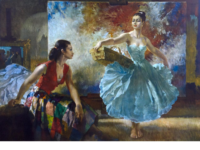 William Russell Flint (Scottish, 1880-1969) 'Eve and Yasmin and an Unfinished Picture'