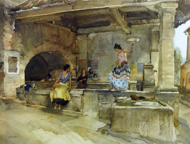William Russell Flint (Scottish, 1880-1969) 'A Question of Attribution'
