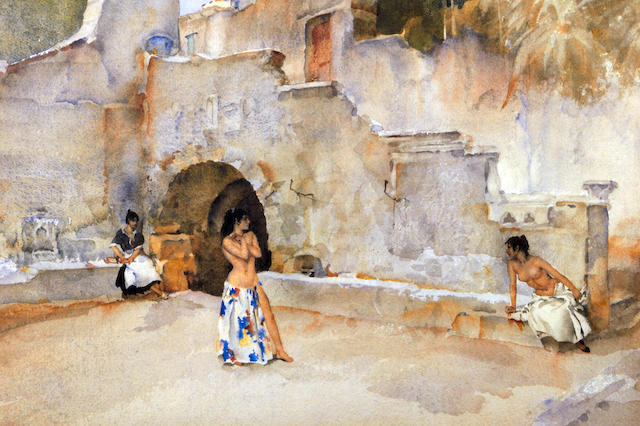William Russell Flint (Scottish, 1880-1969) 'Models in an Italian Courtyard'