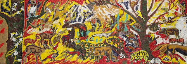 Twins Seven-Seven (Nigerian, 1944-2011) 'Beasts in Political Conference' unframed