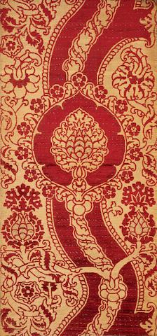 An impressive voided velvet silk Panel Ottoman Turkey or Italy,  16th Century