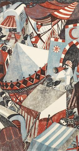 Lill Tschudi (Swiss, 1911-2001) Village Fair II (Coppel LT 79) Linocut printed in crimson, cerulean blue, black and grey, 1948, on buff oriental laid tissue, signed and numbered 18/50 in pencil, additionally signed, titled and inscribed in German in lower margin, with margins, 345 x 180mm (13 1/2 x 7in)(B)(unframed)