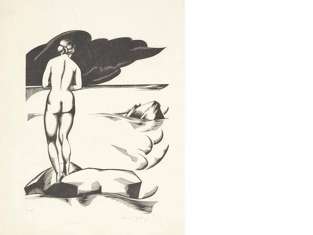 Robert Gibbings (Irish, 1889-1958) The Bather Wood-engaving printed in black, on oriental laid tissue, signed, titled and numbered '31/50' in pencil, with margins, 346 x 270mm (13 5/8 x 10 5/8in)(SH) unframed