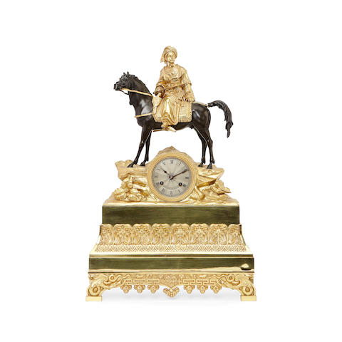 A mid 19th century gilt and patinated bronze figural mantel clock Raingo Freres, Paris