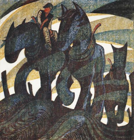 Sybil Andrews, CPE (British/Canadian, 1898-1993) Day's End Linocut printed in raw sienna, crimson, permanent blue, Chinese blue and ivory black, 1961, on oriental laid tissue, signed and numbered 42/60 in pencil, additionally signed and inscribed 'T.P.3' in pencil in lower margin, with a larger triangular compositional element in the ivory black block at upper right, with margins, 275 x 260mm (10 3/4 x 10 1/4in)(B)