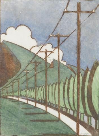 Ursula Fookes (British, 1906-1991) Poplar Trees and Telegraph Poles Linocut printed in blue, brown, dark green and light green, on oriental tissue, signed in pencil, with margins, 205 x 153mm (8 1/8 x 6in)(B) unframed