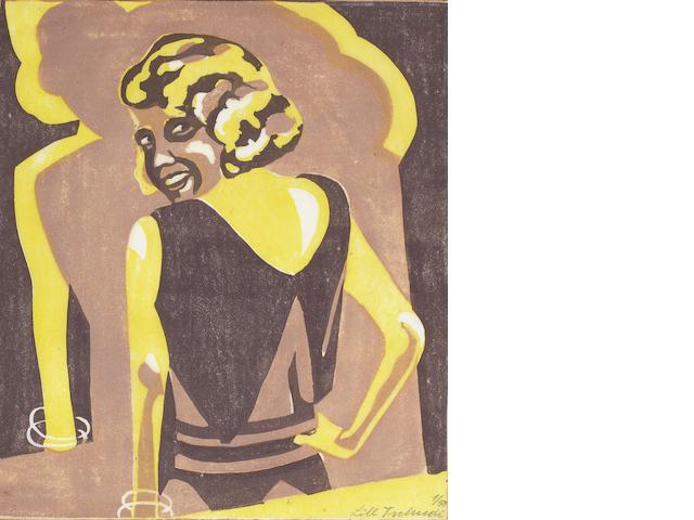 Lill Tschudi (Swiss, 1911-2001) The Flirt (Coppel LT 14) Linocut printed in light burnt sienna, mauve and yellow, 1930, one of only a few known existing proofs, on oriental laid tissue, signed and numbered 1/50 in pencil, further titled and inscribed 'Meine Schwester, best' in pencil in the lower margin, with margins, 188 x 162mm (7 3/8 x 6 3/8in)(B)