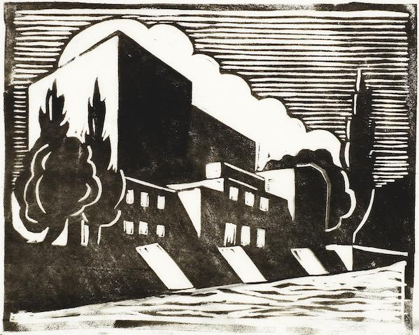 Ursula Fookes (British, 1906-1991) Shakespeare Memorial Theatre 1930 Linocut printed in black, 1930, on tissue thin wove, signed in pencil, with margins, 135 x 165mm (5 3/8 x 6 1/2in)(B); together with the original pencil preparatory drawing and the watercolour study, each inscribed in pencil, various sizes (3) unframed