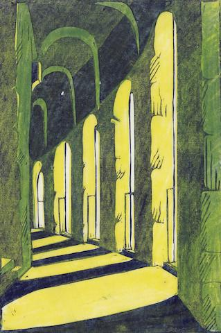 Ursula Fookes (British, 1906-1991) Viaduct Linocut printed in yellow, green and dark blue, on tissue thin japan, signed in pencil, with margins, 235 x 165mm (9 1/4 x 6 1/2in) (B); together with two preparatory studies in watercolour and pencil, each inscribed in pencil, various sizes (3) unframed