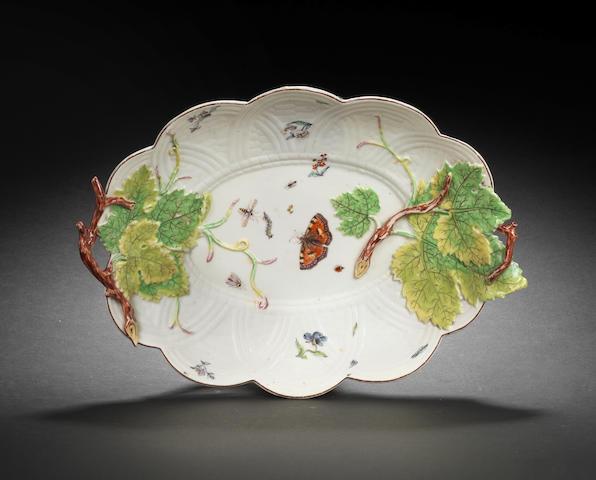A Chelsea oval dish, circa 1755-58