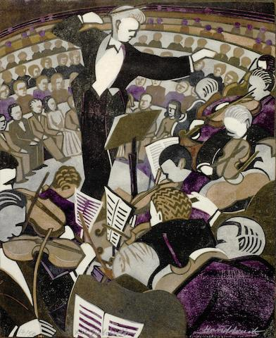Lill Tschudi (Swiss, 1911-2001) Concert II The rare linocut printed in black, violet, light brown and grey, 1948, a richly inked impression, on thick oriental, signed,  numbered 14/50 in pencil and  inscribed 'Handdruck' in white pencil, additionally signed, titled and dated in pencil in lower margin, 310 x 250mm (12 1/4 x 10in)(B)(unframed)
