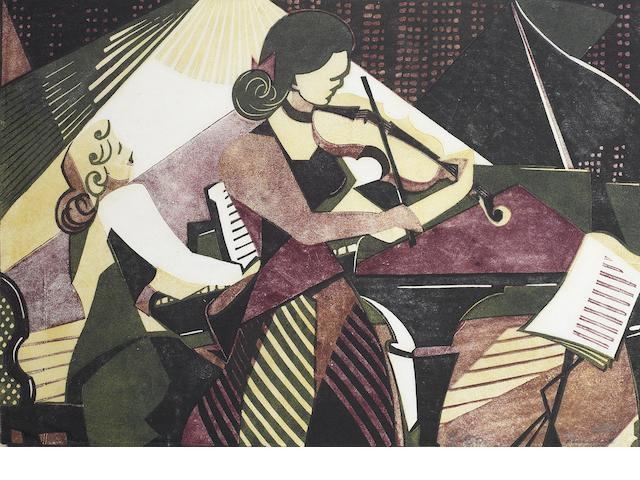 Lill Tschudi (Swiss, 1911-2001) Musicians Linocut printed in black, yellow and purple, 1949, a good early impression, on thin off-white oriental laid, signed and numbered 8/50 in pencil, with margins, 220 x 318mm (8 5/8 x 12 1/2in) (B)