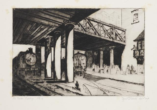 Cyril Edward Power (British, 1872-1951) The Goods Siding Etching with drypoint, c. 1922, on thick wove, with rich burr and delicate plate tone, signed and inscribed 'del. et imp.' in pencil, numbered 4, further inscribed 'specimen special print' and 'No.1 Print 2 of state' in pencil, with wide margins, 150 x 225mm (5 7/8 x 8 7/8in)(PL) unframed