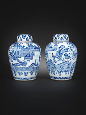 A pair of blue and white vases and covers Kangxi