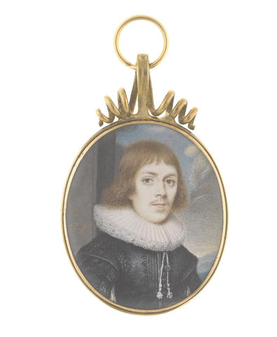 David des Granges (British, circa 1611-1671) A Nobleman, wearing black embroidered doublet slashed to reveal white chemise, white lace ruff