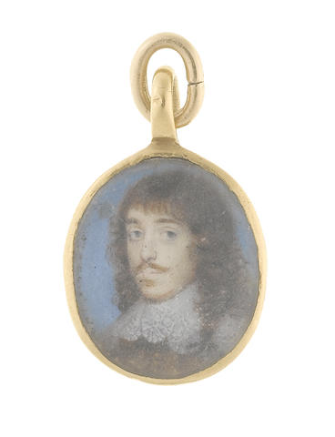 English School, circa 1650 A Gentleman, wearing brown doublet and white lawn collar edged with lace, his natural hair falling to his shoulders