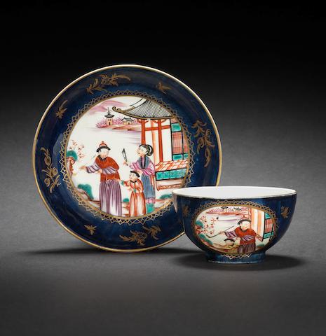 A Worcester teabowl and  saucer, circa 1768