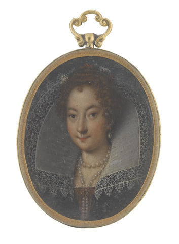 Florentine School, circa 1600 A Lady, wearing black dress with dark red bodice and white lace slip, white reticella collar, her multi-stranded pearl necklace secured at her decollete with a jeweled brooch, pearl pendant earring, her curling red hair upswept and dressed with crimson ribbon