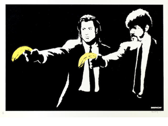 Banksy (British, born 1975) Pulp Fiction Screenprint in colours, 2004, on wove, signed, dated and numbered 3/150, published by Pictures on Walls, London, with margins, 500 x 700mm (19 3/4 x 27 1/2in)(SH)
