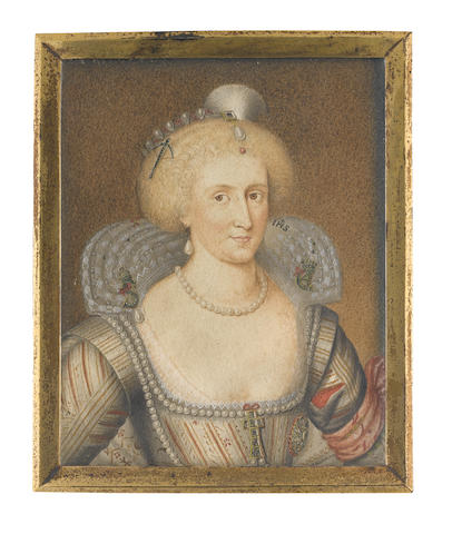 George Perfect Harding (British, born circa 1780-1853), after Paul van Somer (Flemish, 1576-1621) Queen Anne of Denmark (1574-1619), Queen Consort of England and Ireland (1603-1619), wearing white dress embroidered with gold, her sleeves slashed to reveal red, white lace inset, neckline set with pearls and pinned to her bodice with a jeweled cross, embroidered fan-shaped ruff adorned with the crowned 'S', referring to her mother, Sophia of Mecklenburg and the crowned 'C4' to her brother, Christian IV of Denmark (1577-1648), pearl necklace and matching earring, her hair upswept and elaborately dressed with pearls and a cross-bow jewel