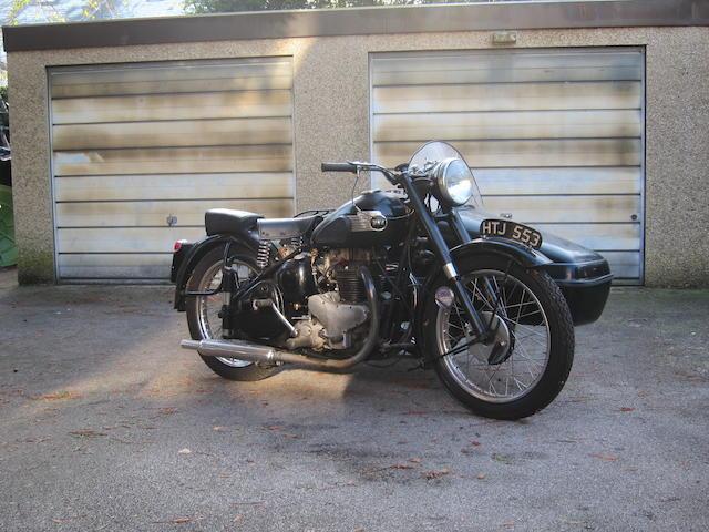 1947 BSA 495cc A7 Motorcycle Combination Frame no. XA7 1558 Engine no. XA7 1602