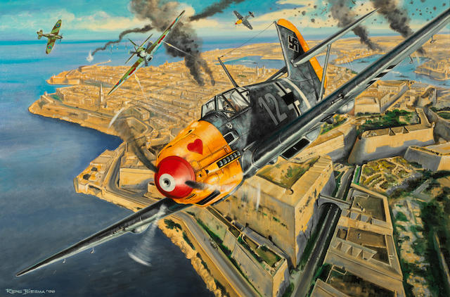 Rens Biesma, Dutch, (1944- ), 'Dogfight over Malta',