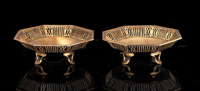 A pair of silver gilt octagonal bon bon dishes Birmingham 1952,