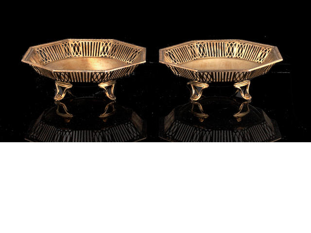 A pair of silver gilt octagonal bon bon dishes,