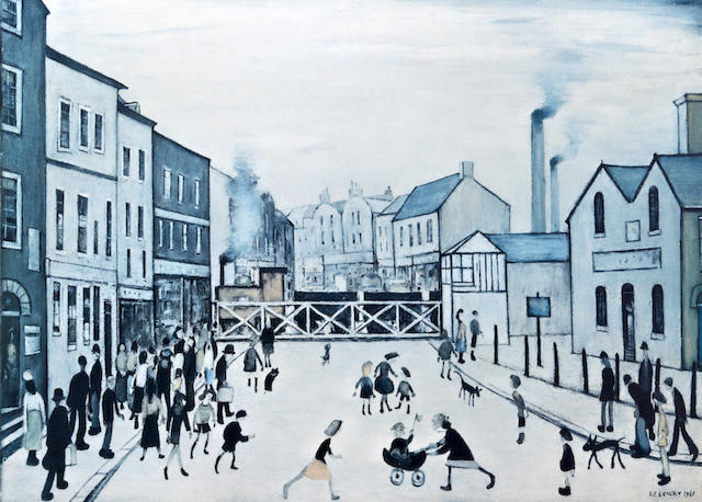 Laurence Stephen Lowry R.A. (British, 1887-1976) 'The Level Crossing, Burton on Trent'