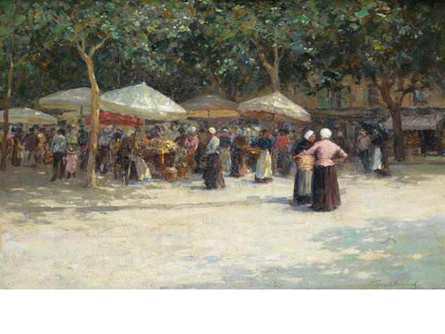 Terrick John Williams, RA (British, 1860-1936) The market under the trees - Nice