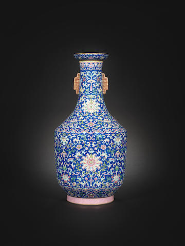 A blue-ground famille rose vase  Jiaqing seal mark and of the period