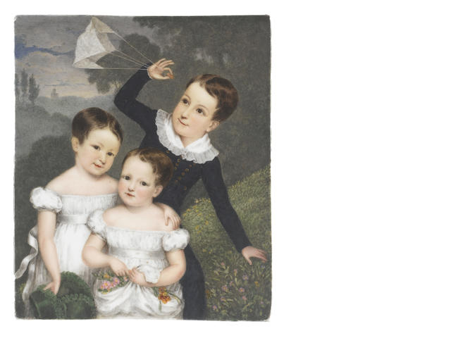 William Corden (British, 1797-1867) A miniature portraying the three children of Bonamy and Caroline Dobree: Bonamy (1818-1907), Caroline (b.1820) and Mary (b.1821), standing together in a garden setting; the former, navigating a kite in his right hand and wearing dark blue Eton suit, the collar of his white chemise edged with frilled trim; Caroline, wearing an off-the-shoulder white dress and waist sash, a green bonnet in her right hand, her left arm around the shoulders of her younger sister; Mary, carrying a floral bouquet in the gathered skirts of her matching white dress; their dark hair parted and worn short