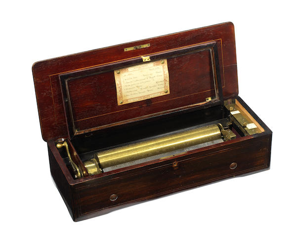 A Nicole Freres Forte Piano cylinder musical box,  serial no. 45256, Gamme No. 2975,