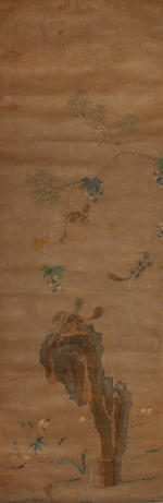 Chinese School (19th Century) A pair of embroidered scrolls of birds and flowers