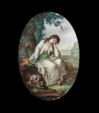 A fine oval enamel plaque by William Hopkins Craft, circa 1770
