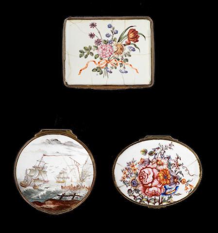 Two London enamel snuff boxes and a Birmingham enamel snuff box, mid 18th century