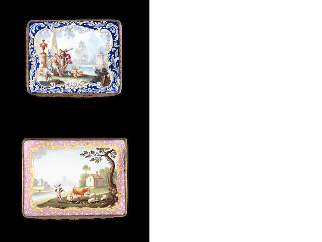 A Birmingham enamel snuff box and a South Staffordshire enamel snuff box, circa 1760-65
