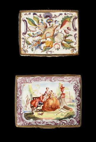 A Birmingham enamel snuff box and a South Staffordshire enamel snuff box, circa 1765-70