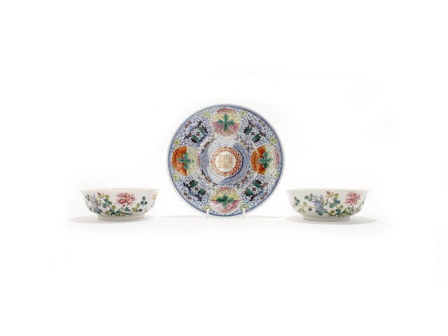 A pair of famille rose shallow bowls and a famille rose dish
