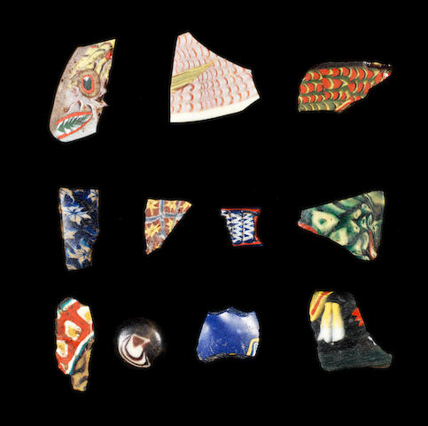 Eleven Egyptian mosaic glass fragments 11
