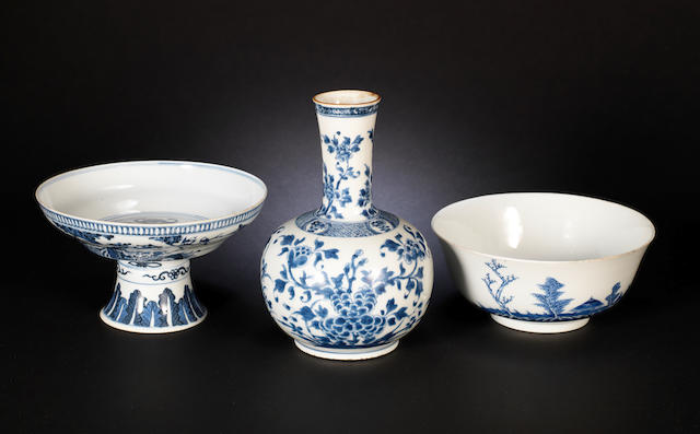 Three blue and white wares