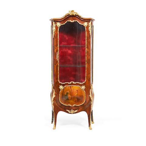 A French early 20th century gilt metal mounted rosewood and Vernis Martin bombé vitrine in the Louis XV style
