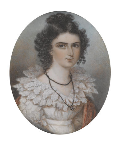 Mrs. Anne Mee  (British, circa 1770-1851) Harriot Mellon, later Duchess of St Albans (1777-1837), in her role as Mistress Anne Page, wearing white dress with triple-tiered lace collar, her scarlet stole draped about her, a pendant on a long black ribbon cord suspended from her neck, her dark hair upswept in a knot upon her head with ringlets framing her face