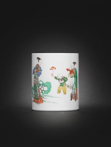 A famille verte brushpot Kangxi