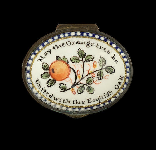 A rare enamel patch box, circa 1780-90