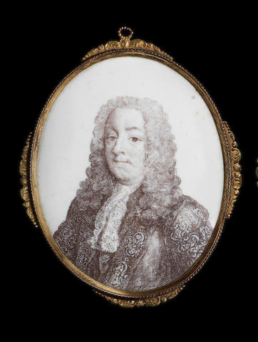 A Battersea enamel plaque of Henry Pelham, circa 1753-56